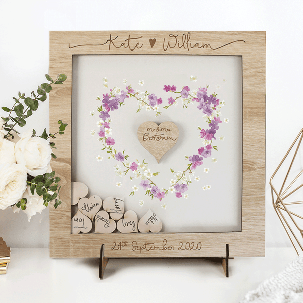 LIGHTENED OAK LARGE FRAME - Delicate Alternative drop box Wedding Guest Book