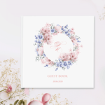 Hand Made & Personalised Large Paper Wedding Guest Book - Monogram Wreath in Summer Flowers