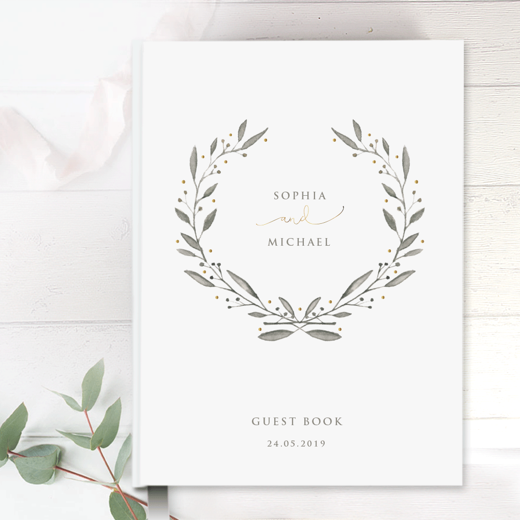 Hand Made & Personalised Paper Wedding Guest Book - Olive Branch Wreath Grey