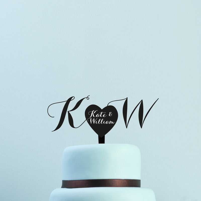 Personalised cake topper - Bride & Groom names