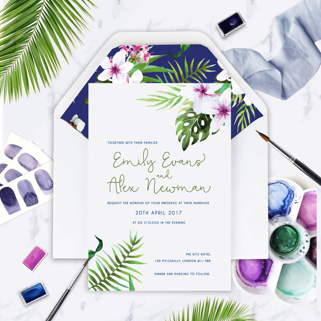 Tropical Botanical Watercolour Wedding Day Invitation