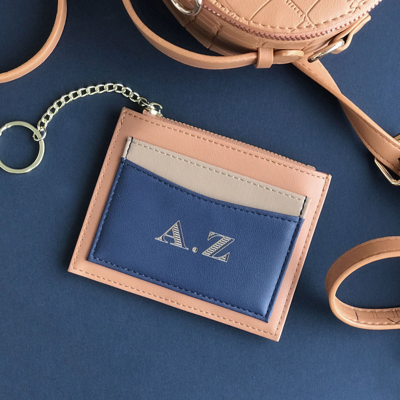 Personalized Card holder Coin purse with Gold Key Ring Vegan Leather