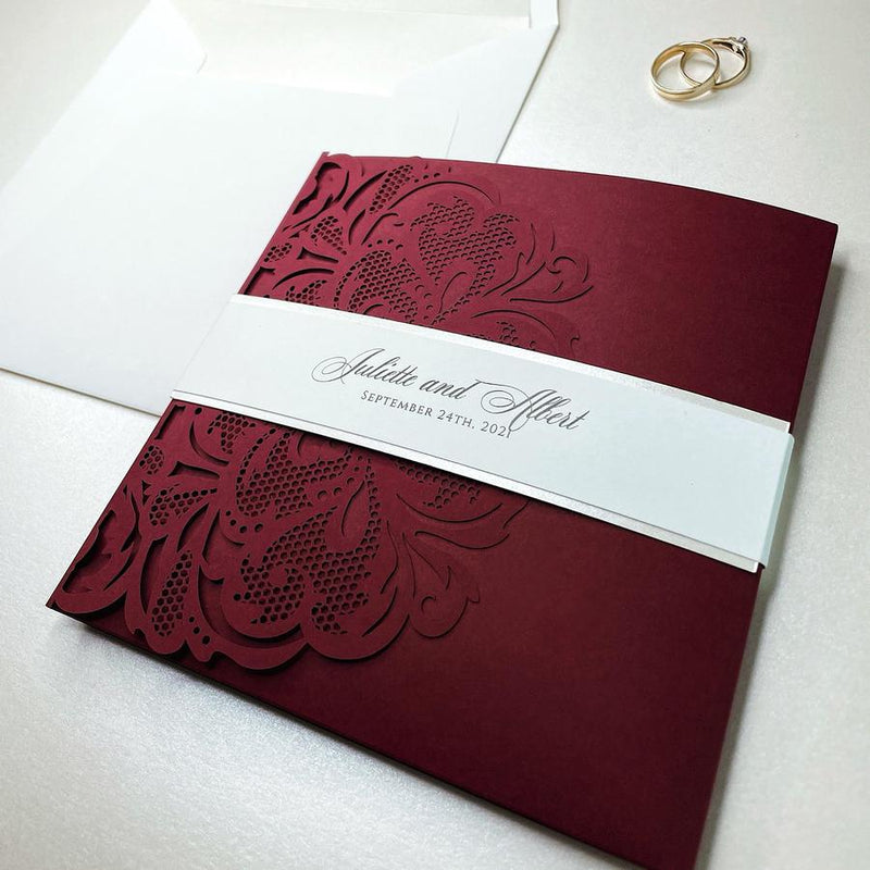 Luxury Blush Opulence Laser Cut Lace Pocketfold Wedding Invitation Suite with 3 Tier :  Guest Info & Travel & Rsvp Card