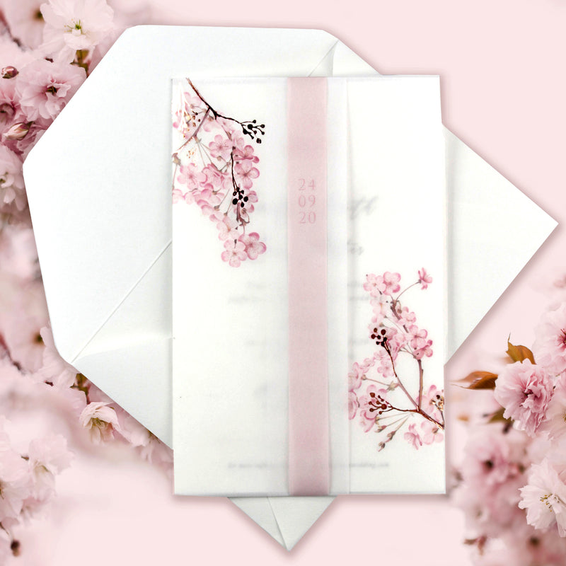 Modern Layered  Vellum/ Parchment Suite with Cherry Blossom Tree & Rose Gold Foil