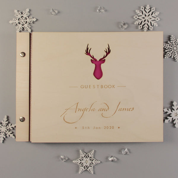 30 Sheet Large Wooden Winter Deer Wedding Guest Book / Photo Album