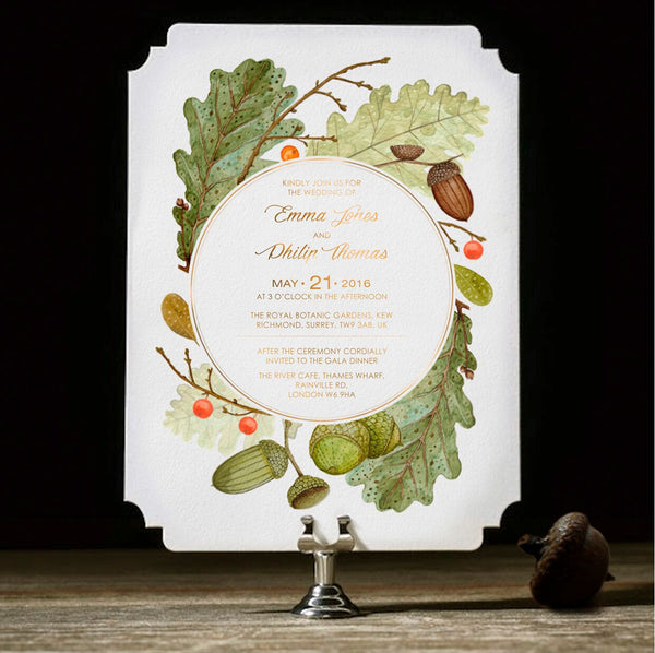 Modern Fall Inspired Nature Wedding Invitation with Gold Foil and Monogram