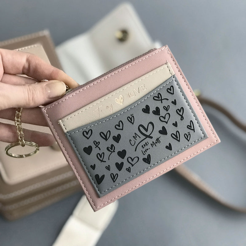 Valentines Gift Classic Personalised Woman's Card Holder, Coin purse, Vegan Leather