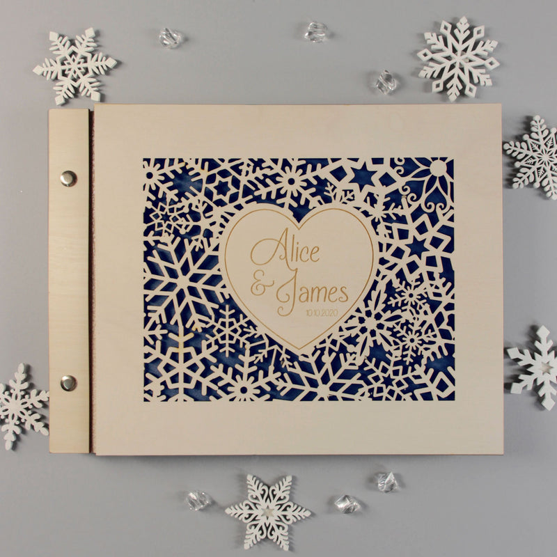 50 Sheet Large Beautiful Wooden Snowflake Heart Guest Book