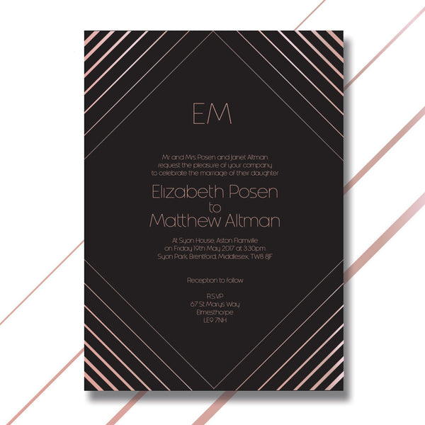 Luxury Geometric Foil Wedding Day Invitation