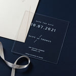 Square Acrylic Geomtric Save the Date  Names Perspex See Through Plexi - Engraved