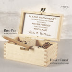 Engraved Personalised  Drop Box Gift Wooden Chest with Hearts and Pen