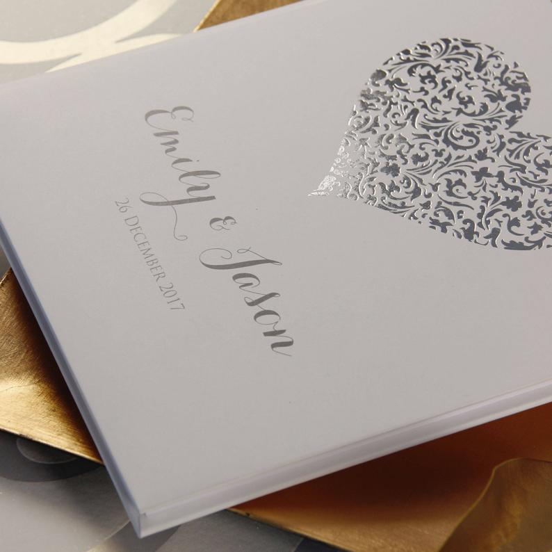 Hand Made & Personalised Paper Wedding Guest Book - Real Silver Foil Lace Heart