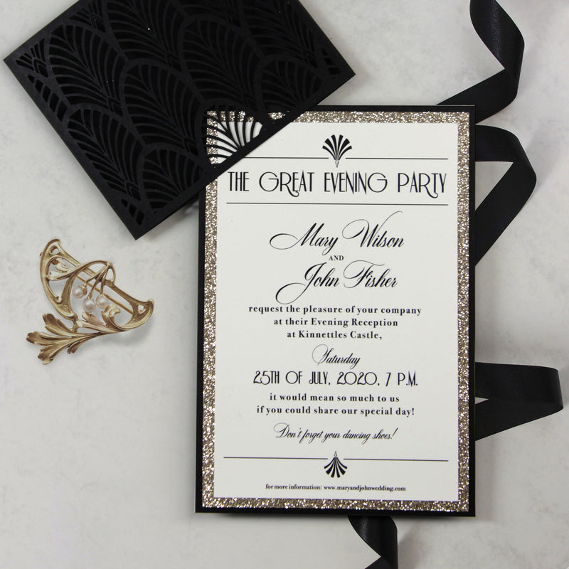 Luxury Glittering Art Deco 20s Gatsby Gate Laser Cut Sleeve Wedding Evening Invitation