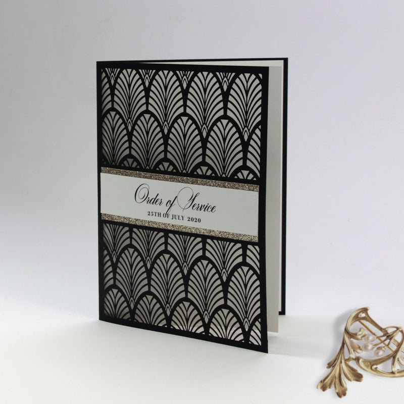 Luxury Glittering Art Deco 20s Gatsby Gate Laser cut Order of Service