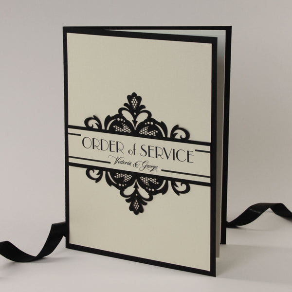 Art Deco Great Gatsby Luxury Gatefold Laser cut Order of Service / Menu
