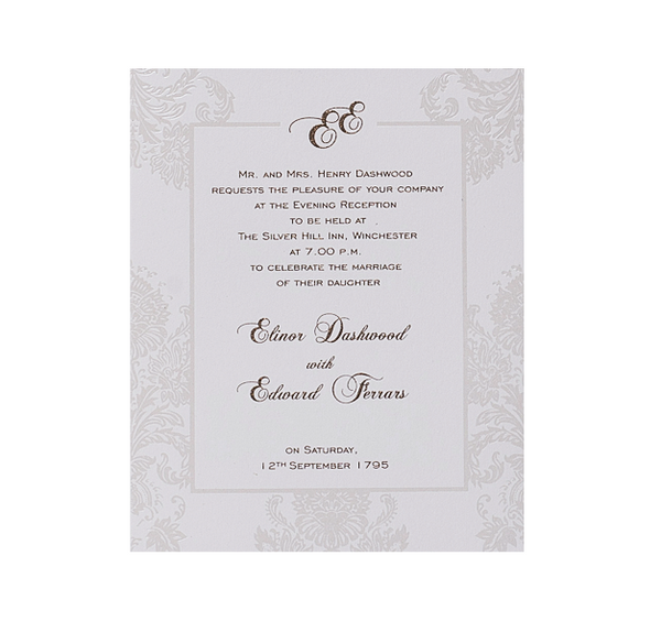 Pearl Damasque Wedding Evening Invitation