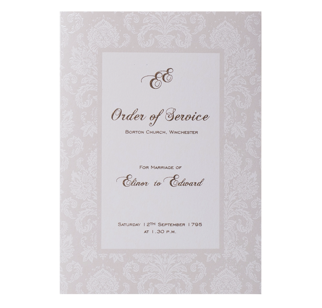 Pearl Damasque Order of Service / Menu