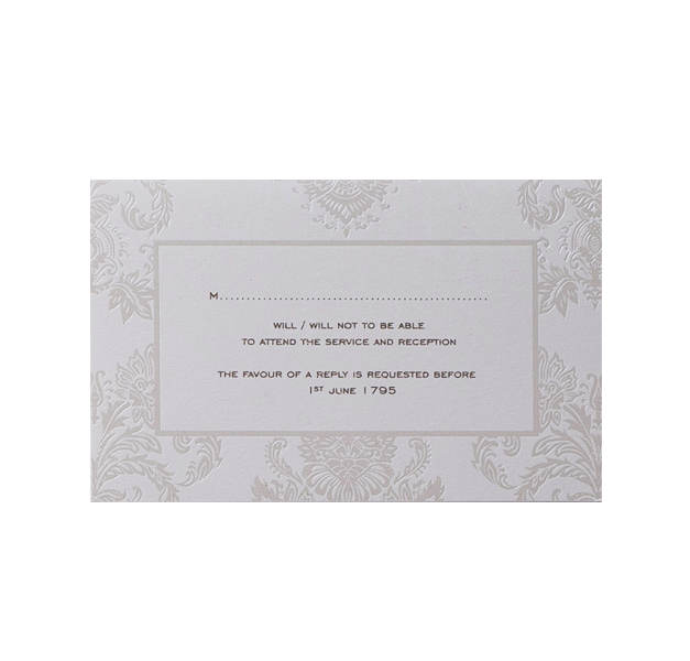 Pearl Damasque Wedding Reply, Rsvp Card