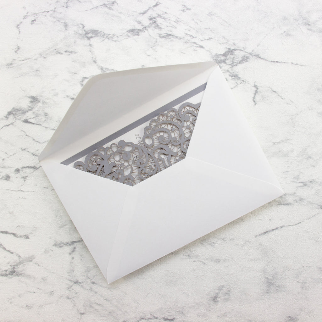 Ash Grey laser cut Evening invitation