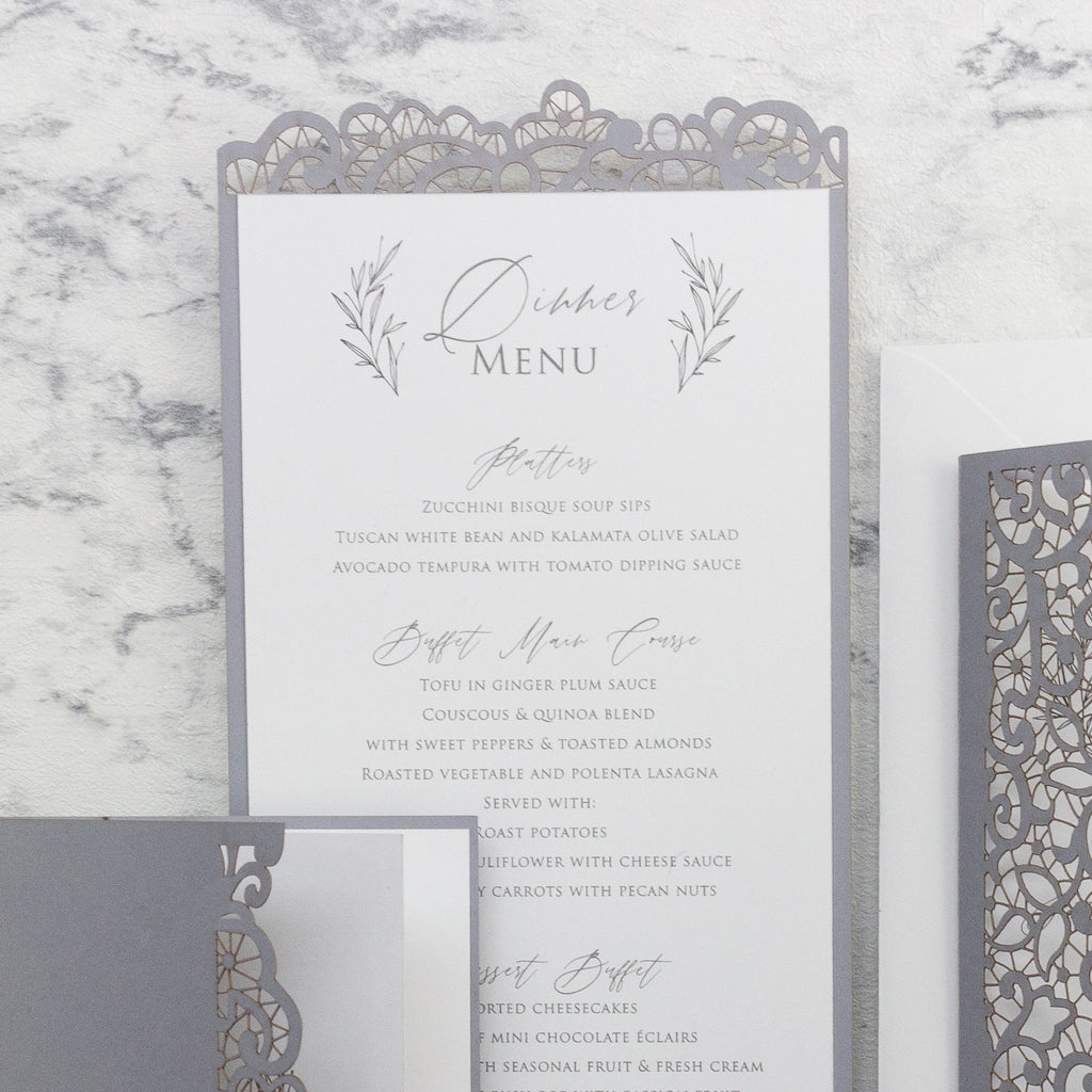 Ash Grey laser cut Menu