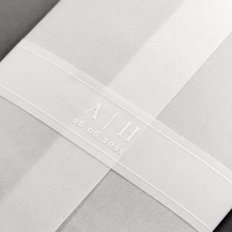 Vellum Wrap with White Ink Design Perspex Acrylic See Through Plexi Invitation - Engraved