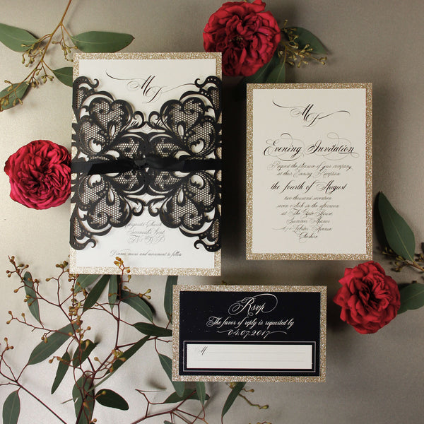 Black Opulence Luxury RSVP Card with Gold Glitter + Envelope