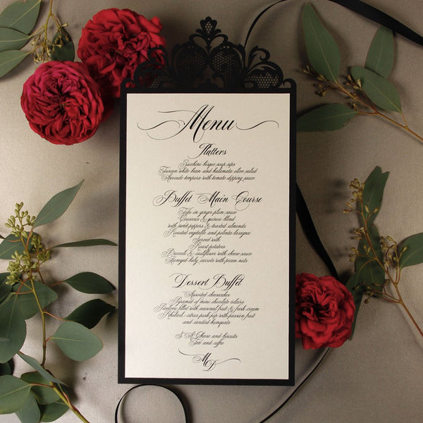 Black Opulence Luxury Laser Cut Menu