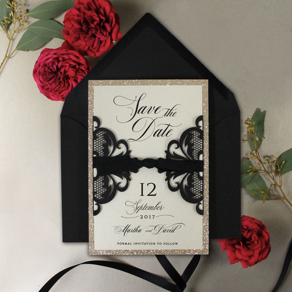 Black Opulence Luxury Gatefold Save the Date with Gold Glitter and Envelope
