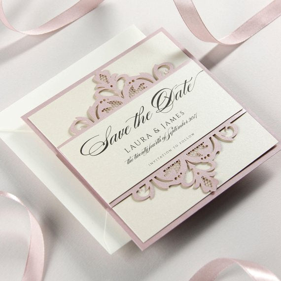 Blush and Cream Collection Save the Date Wedding Invitation.