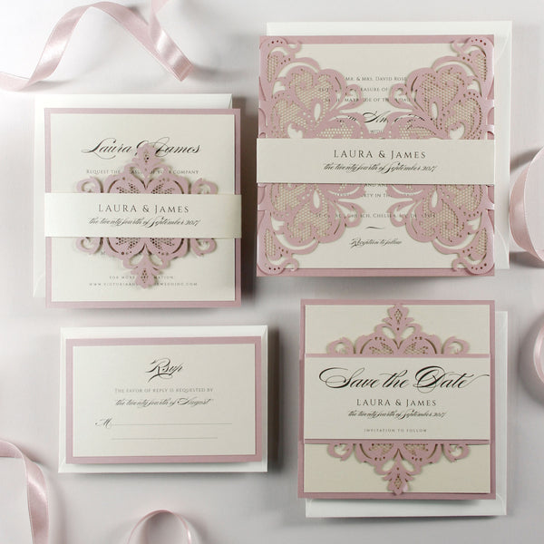 Blush and Cream Luxury Gatefold Laser cut Evening Wedding Invitation with Monogram Belly Band