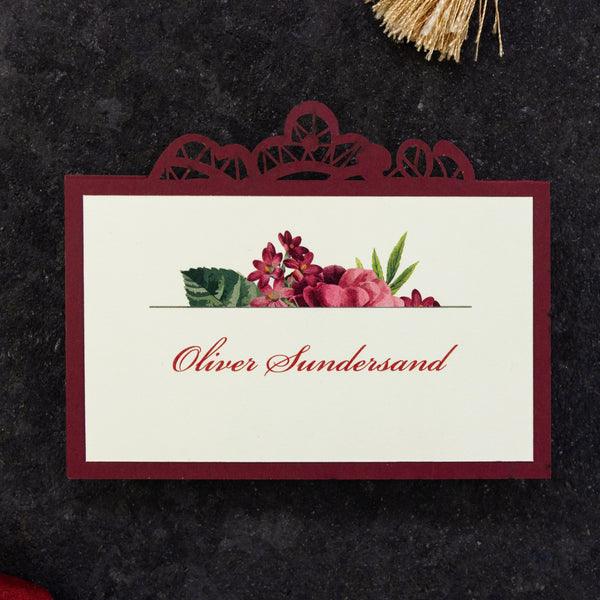 Bordeaux laser cut Place Card