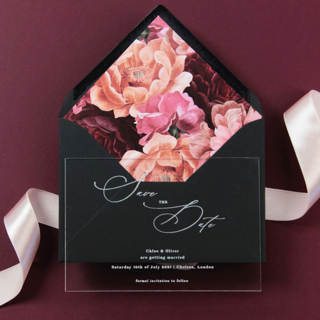 Acrylic Save the Date with Calligraphy Perspex See Through Plexi - Engraved with Floral Liner