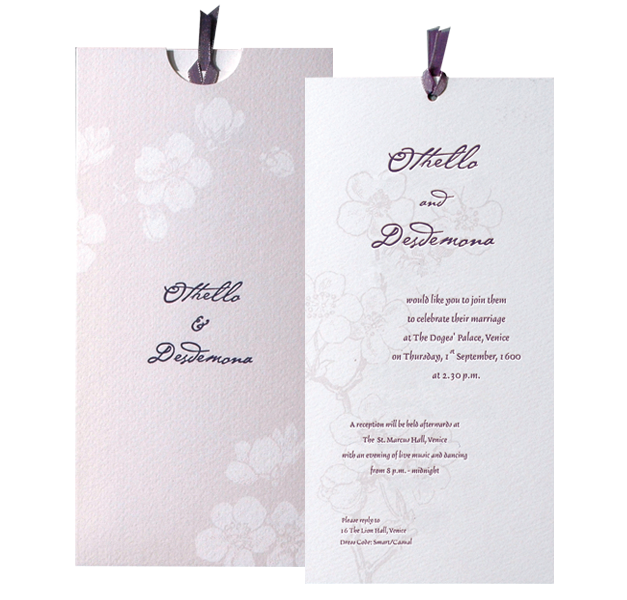 Purple Flower Letterpress Day Invitation