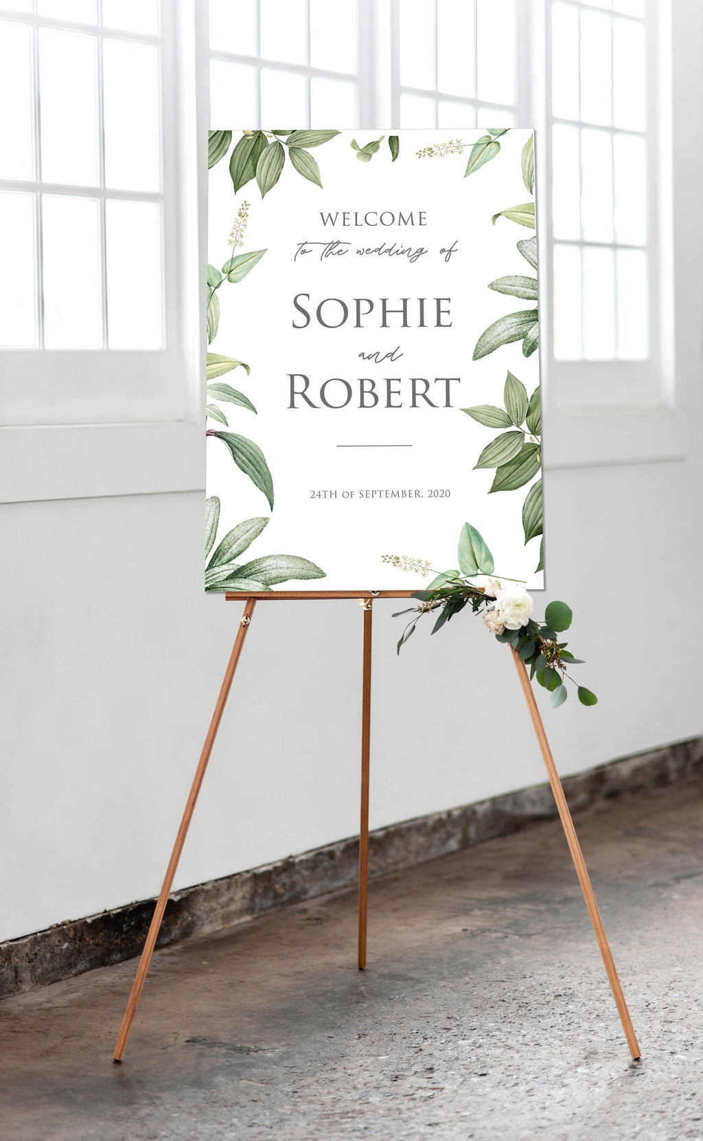 Botanic Foliage Greenery and Grey Welcome Wedding Sign