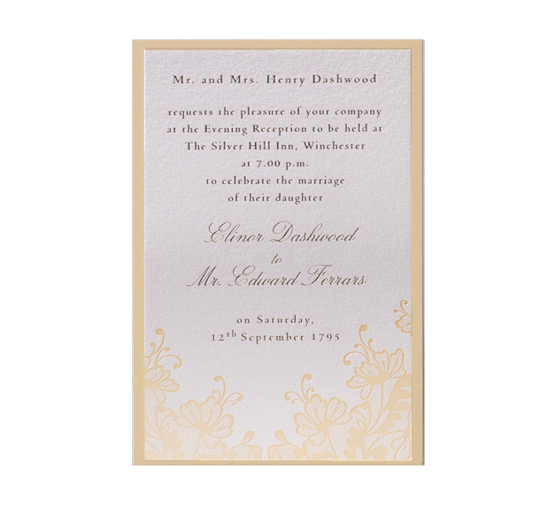 Yellow Lace with Gold Foil Thank you / Reply / Save the Date Card