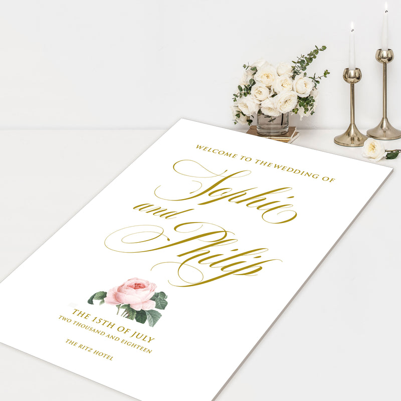 Romantic Roses Gold Calligraphy Welcome Wedding Sign