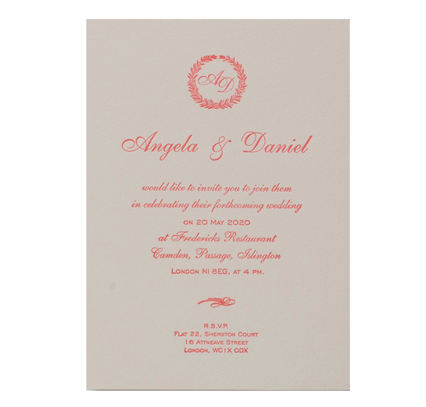 Luxury Letterpress Pink Laurel Day Invitation With Embossing