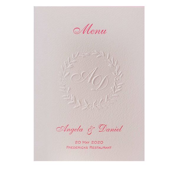 Luxury Letterpress Pink Laurel Order of Service / Menu