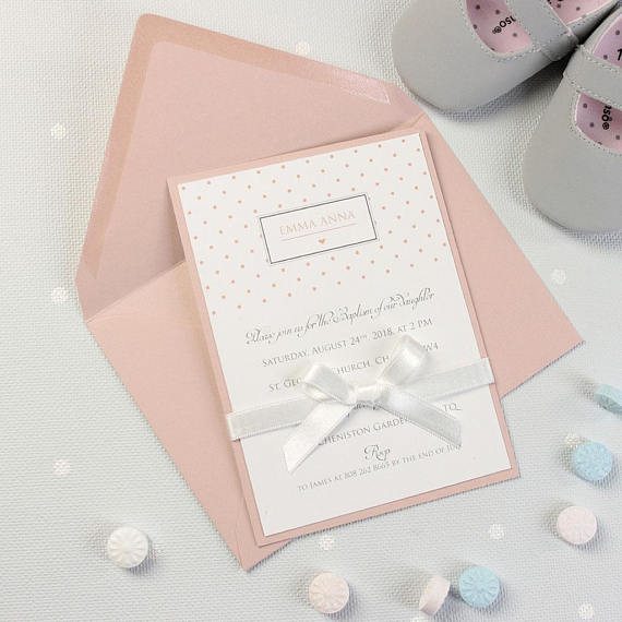 Baby Girl Polka Dot Baptism bespoke pink Invitation with Ribbon tied in a bow + Envelopes + Printing