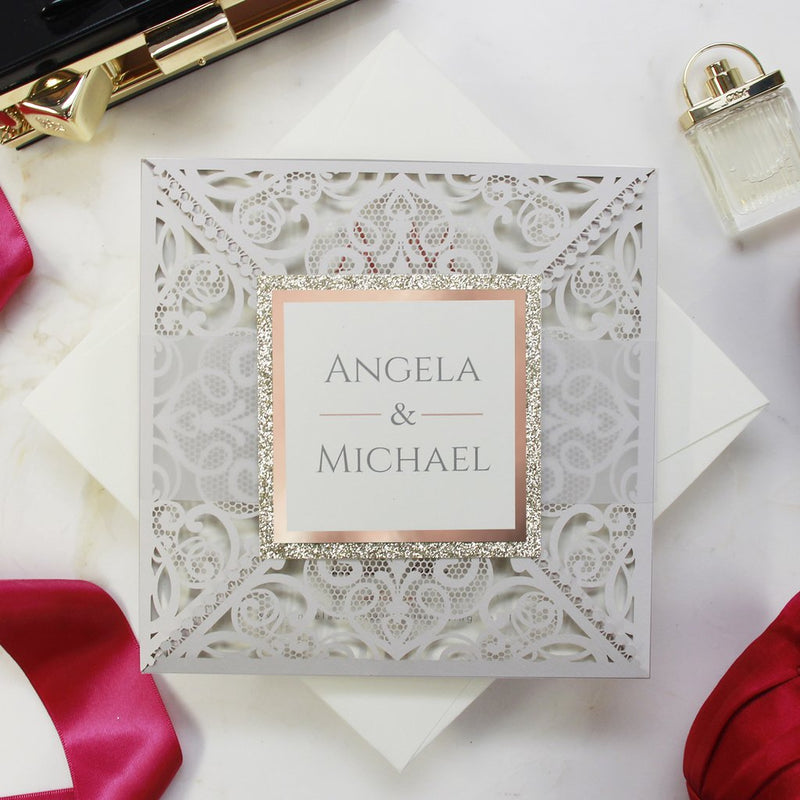 Rose Gold and Light Grey Intricate Laser Cut Square Rose foil border with Glitter Pocket Invitation