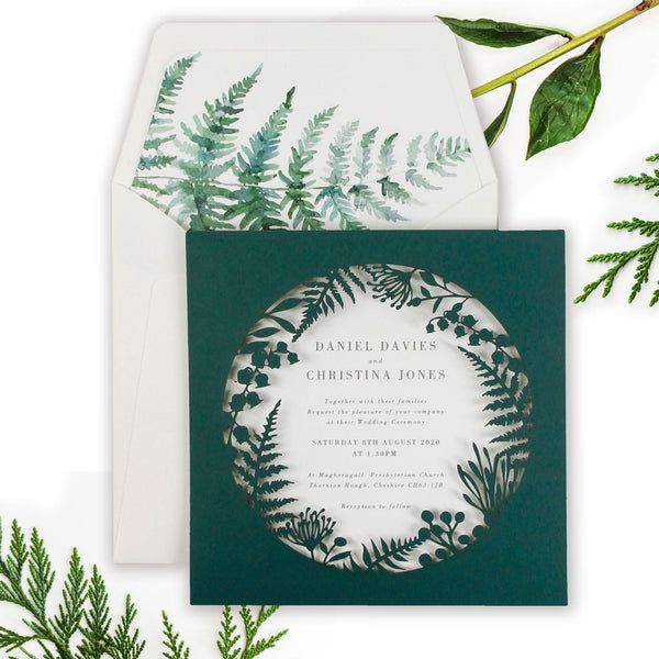 Forest Green, Bottle Green, British Racing Green Fern Royal Winter Wonderland , Laser Cut Pocket Design with  Watercolour liner , Day Invitation Set
