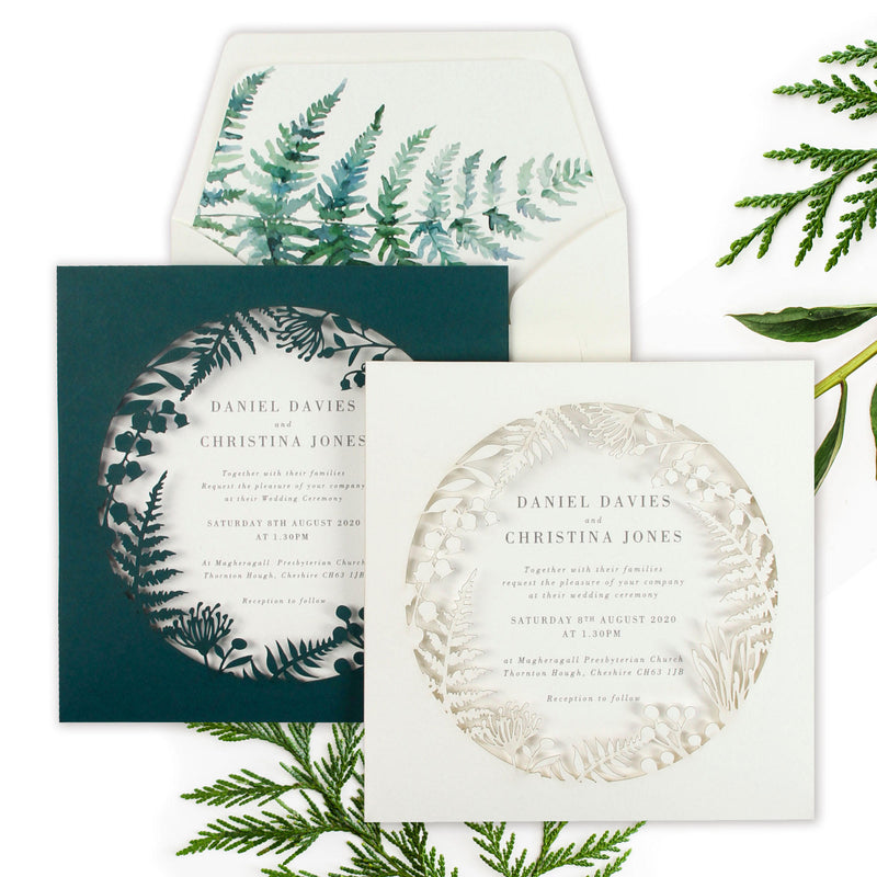 Dusty Pink Fern Royal Laser Cut Pocket Design with Watercolour liner , Day Invitation Set