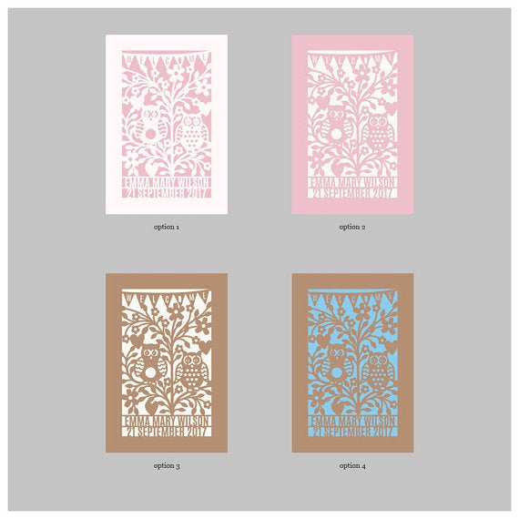 "Laser Cut Personalised Quirky Kraft Retro Owls, ""Welcome"" Baby Shower Invitation Cards, Birth, Metallic Cover, Printed Insert and Envelopes"