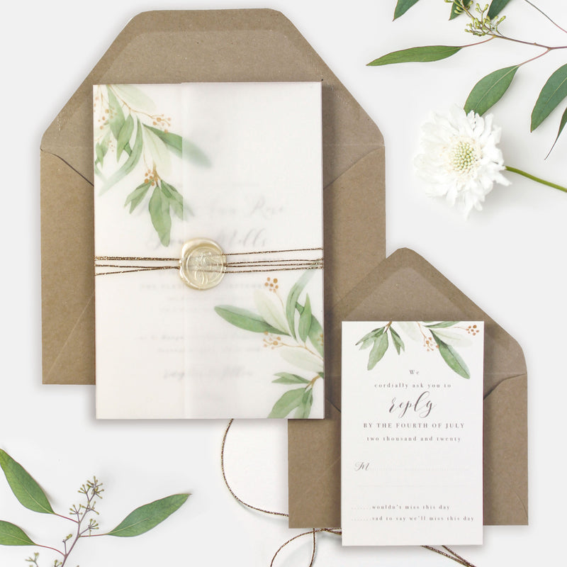 Greenery Vellum Sleeve Pocket fold Invitation with Gold Tie and Pearl Wax Seal and Kraft Envelopes