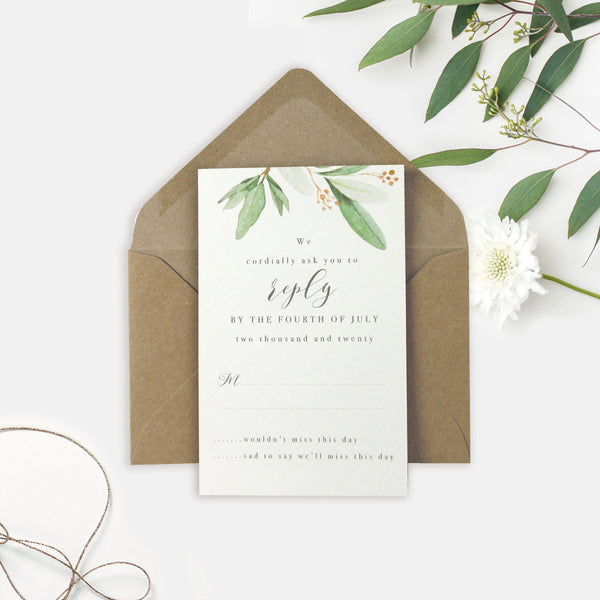 Greenery Parchment Pocket fold suite with Gold Tie and Pearl Wax Seal and Kraft Envelopes