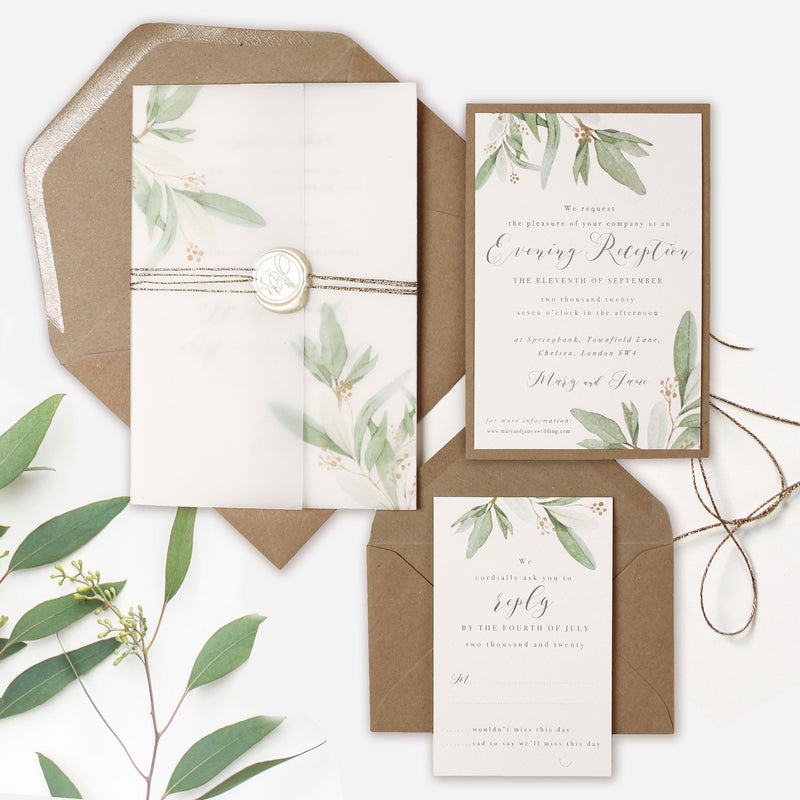 Greenery Parchment Pocket fold suite - Evening/Reception Invitation