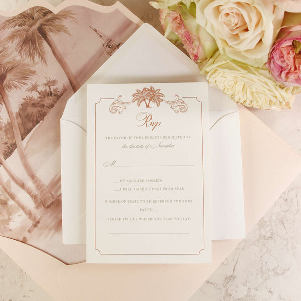 SAMPLE Rose Gold, Pink, Foiled Invitation Pocket, Destination, Palm Tree, Large, Elegant Luxury Wedding Set