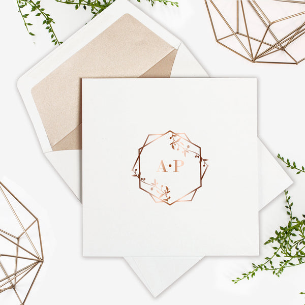 Modern Rose Gold Foil Square pocketGeometric Crest Monogram with Jade rose Liner Envelope.