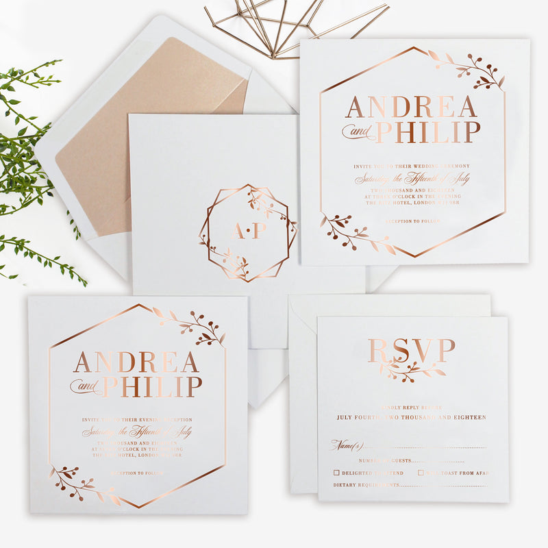 Modern Rose Gold Foil Geometric Crest Monogram Wedding Menu