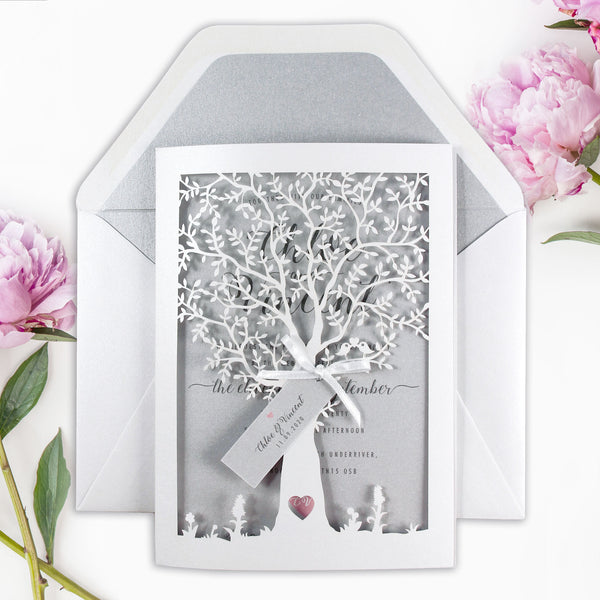 White Wedding Intricate Tree in Silver Laser cut Inviation